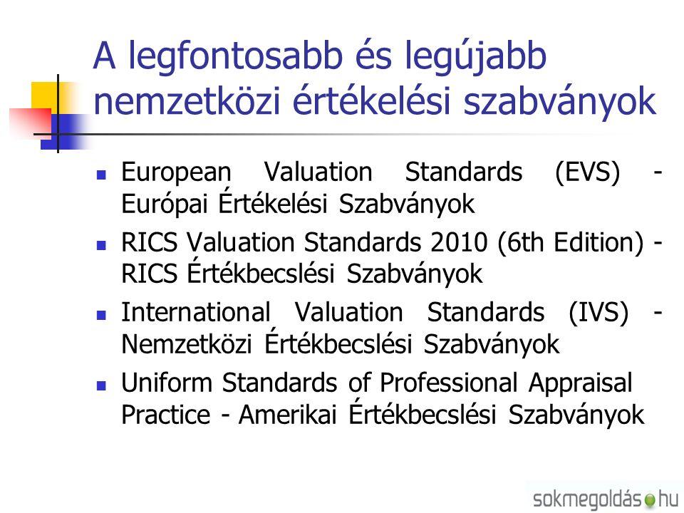 A legfontosabb és legújabb nemzetközi értékelési szabványok European Valuation Standards (EVS) - Európai Értékelési Szabványok RICS Valuation Standards 2010 (6th Edition) - RICS Értékbecslési Szabványok International Valuation Standards (IVS) - Nemzetközi Értékbecslési Szabványok Uniform Standards of Professional Appraisal Practice - Amerikai Értékbecslési Szabványok