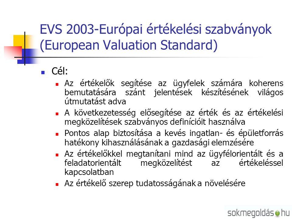 EVS 2003-Európai értékelési szabványok (European Valuation Standard) Cél: Az értékelők segítése az ügyfelek számára koherens bemutatására szánt jelentések készítésének világos útmutatást adva A következetesség elősegítése az érték és az értékelési megközelítések szabványos definícióit használva Pontos alap biztosítása a kevés ingatlan- és épületforrás hatékony kihasználásának a gazdasági elemzésére Az értékelőkkel megtanítani mind az ügyfélorientált és a feladatorientált megközelítést az értékeléssel kapcsolatban Az értékelő szerep tudatosságának a növelésére