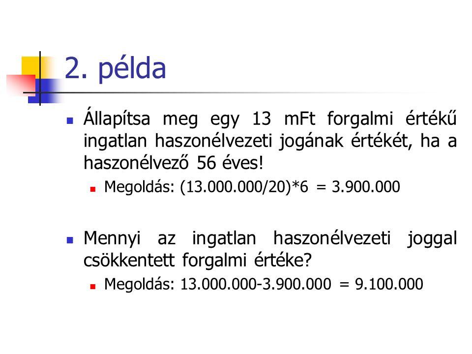 2. példa Állapítsa meg egy 13 mFt forgalmi értékű ingatlan haszonélvezeti jogának értékét, ha a haszonélvező 56 éves! Megoldás: (13.000.000/20)*6 = 3.