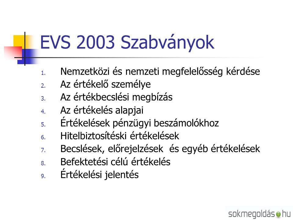 EVS 2003 Szabványok 1. Nemzetközi és nemzeti megfelelősség kérdése 2.