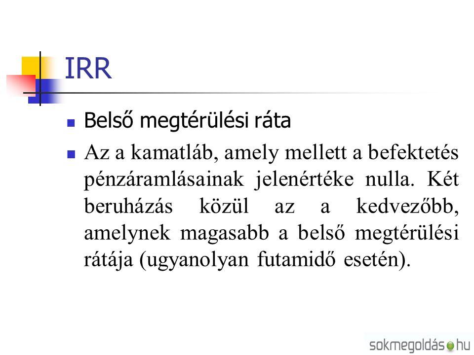 IRR Belső megtérülési ráta Az a kamatláb, amely mellett a befektetés pénzáramlásainak jelenértéke nulla.