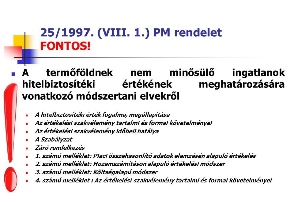 25/1997. (VIII. 1.) PM rendelet FONTOS.
