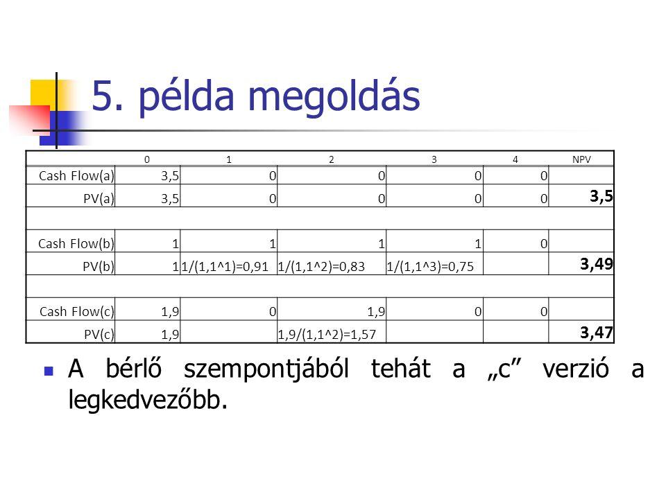 """5. példa megoldás A bérlő szempontjából tehát a """"c verzió a legkedvezőbb."""