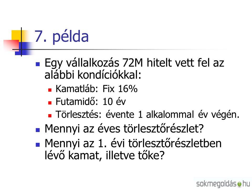 7. példa Egy vállalkozás 72M hitelt vett fel az alábbi kondíciókkal: Kamatláb: Fix 16% Futamidő: 10 év Törlesztés: évente 1 alkalommal év végén. Menny