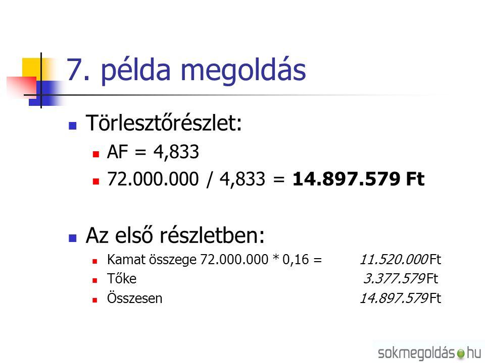 7. példa megoldás Törlesztőrészlet: AF = 4,833 72.000.000 / 4,833 = 14.897.579 Ft Az első részletben: Kamat összege 72.000.000 * 0,16 = 11.520.000 Ft