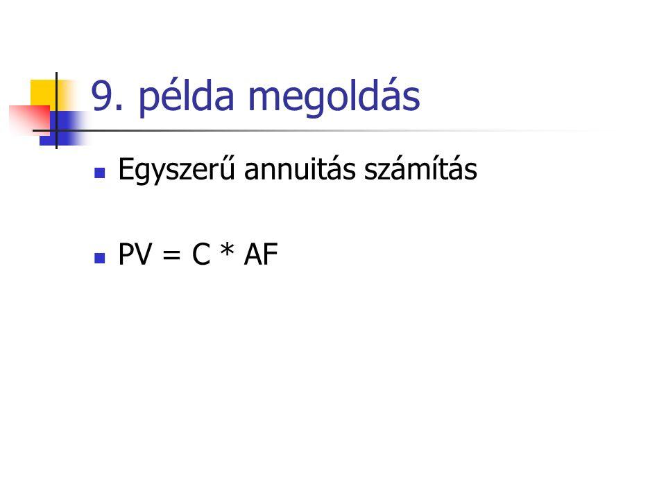 9. példa megoldás Egyszerű annuitás számítás PV = C * AF