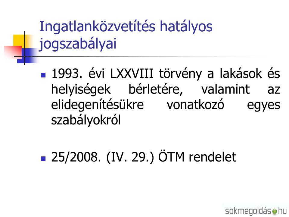 Ingatlanközvetítés hatályos jogszabályai 1993.
