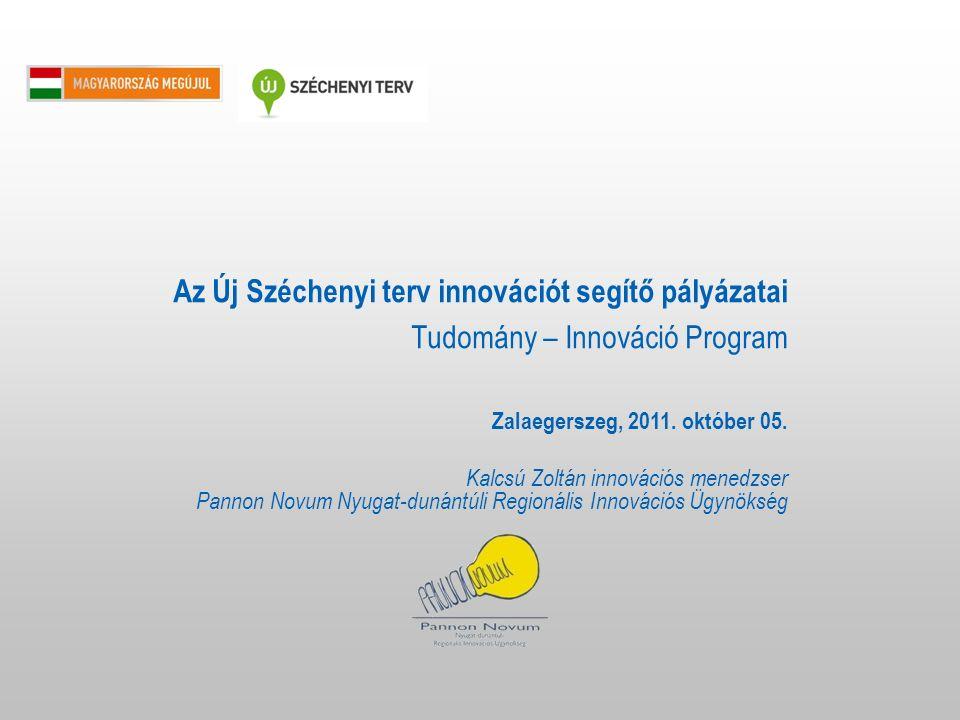 2 A Tudomány – Innováció Program célja: Az innováció útján a gazdaság dinamizálása, a kkv szektor kiaknázatlan K+F és innovációs (beleértve az adaptív innovációt is) lehetőségeinek ösztönzése Főbb programok: vállalatok komplex technológiájának támogatása az akkreditált klaszter tagvállalatok komplex technológiai innovációjának támogatása.