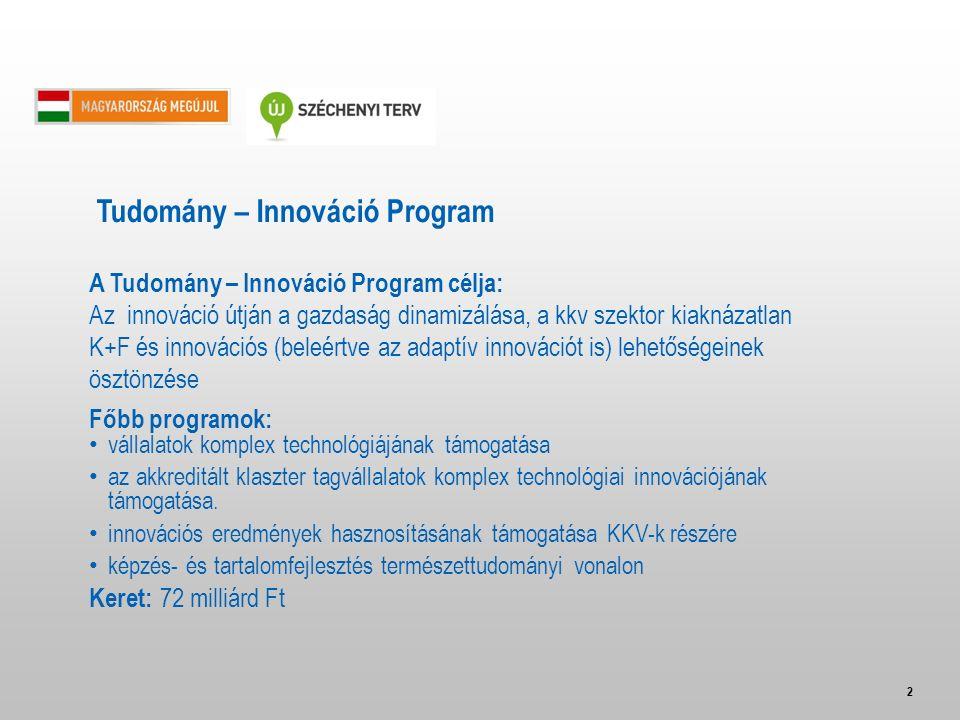 2 A Tudomány – Innováció Program célja: Az innováció útján a gazdaság dinamizálása, a kkv szektor kiaknázatlan K+F és innovációs (beleértve az adaptív