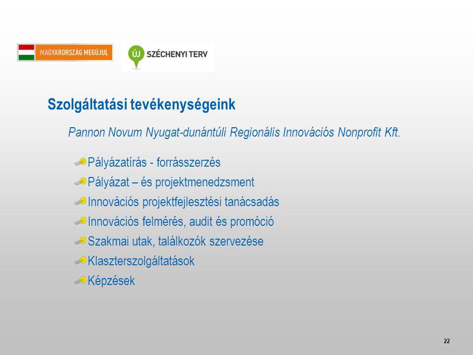 22 Pannon Novum Nyugat-dunántúli Regionális Innovációs Nonprofit Kft. Pályázatírás - forrásszerzés Pályázat – és projektmenedzsment Innovációs projekt