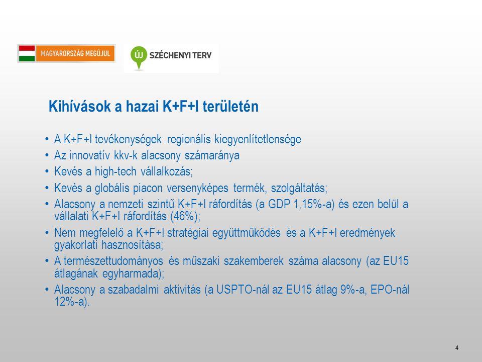 4 A K+F+I tevékenységek regionális kiegyenlítetlensége Az innovatív kkv-k alacsony számaránya Kevés a high-tech vállalkozás; Kevés a globális piacon v