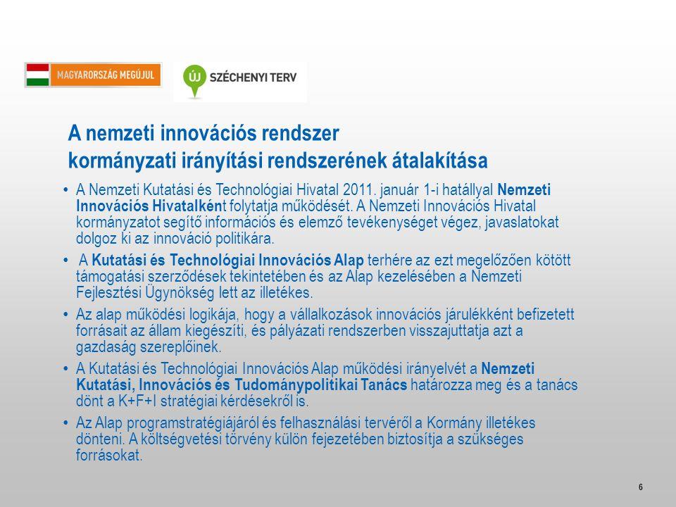6 A Nemzeti Kutatási és Technológiai Hivatal 2011. január 1-i hatállyal Nemzeti Innovációs Hivatalkén t folytatja működését. A Nemzeti Innovációs Hiva