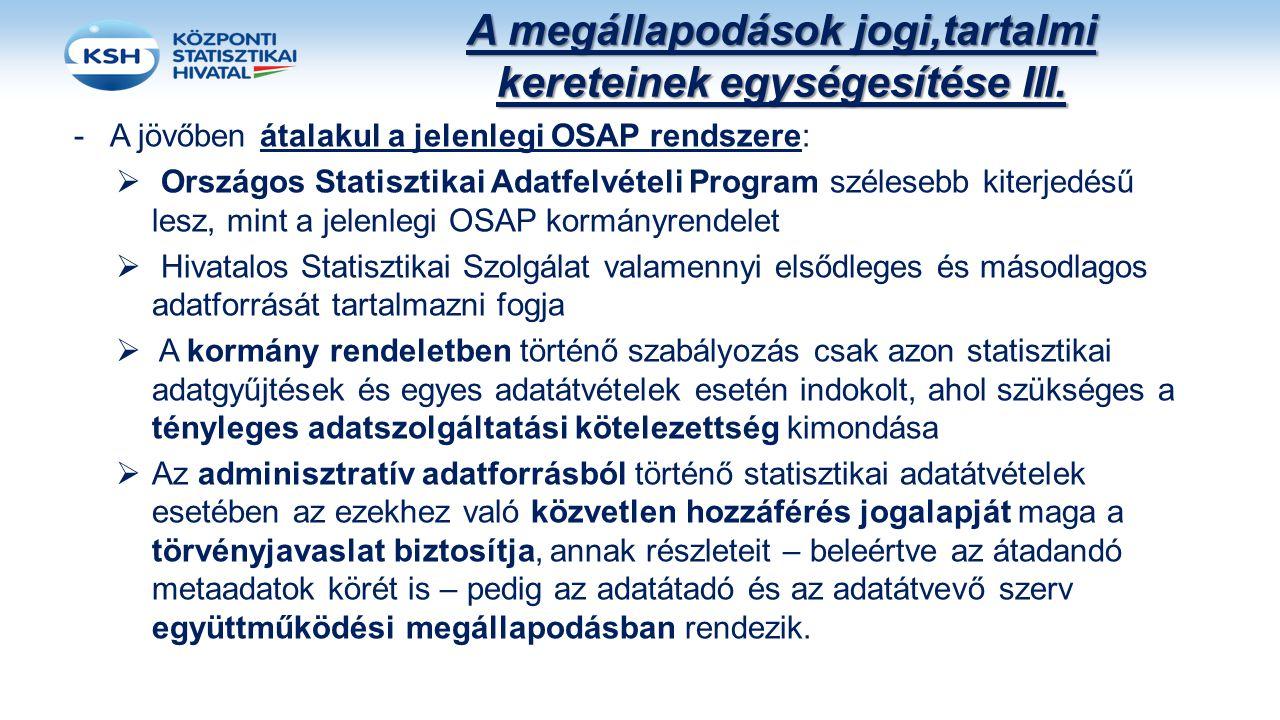 A megállapodások jogi,tartalmi kereteinek egységesítése III. -A jövőben átalakul a jelenlegi OSAP rendszere:  Országos Statisztikai Adatfelvételi Pro