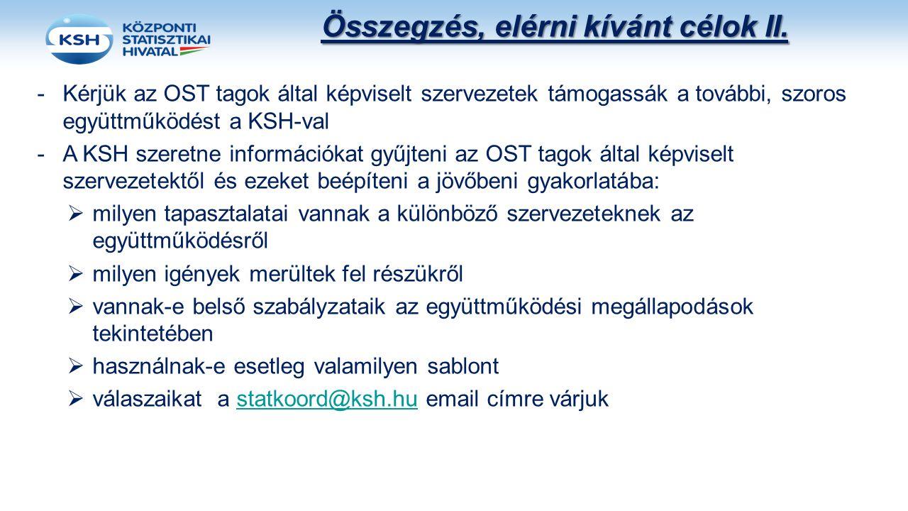 Összegzés, elérni kívánt célok II. -Kérjük az OST tagok által képviselt szervezetek támogassák a további, szoros együttműködést a KSH-val -A KSH szere