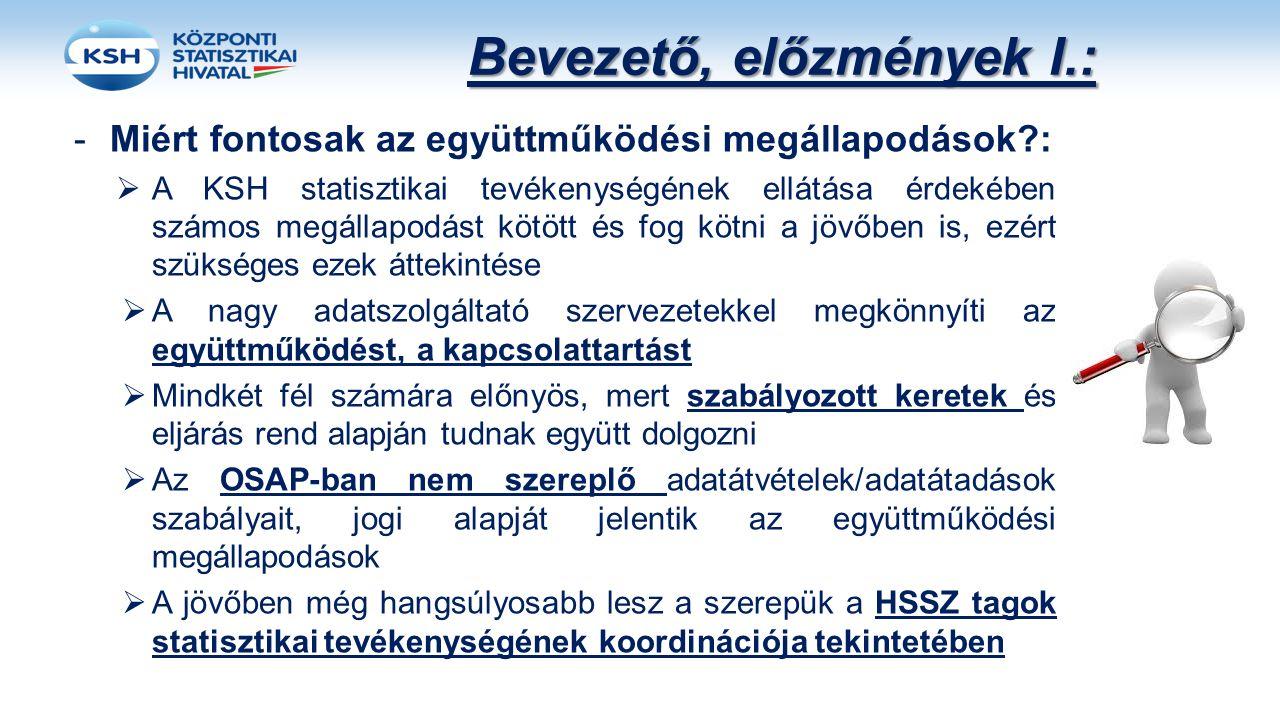 Bevezető, előzmények I.: -Miért fontosak az együttműködési megállapodások?:  A KSH statisztikai tevékenységének ellátása érdekében számos megállapodá