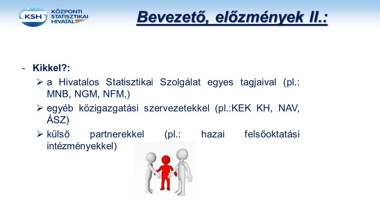 -Kikkel?:  a Hivatalos Statisztikai Szolgálat egyes tagjaival (pl.: MNB, NGM, NFM,)  egyéb közigazgatási szervezetekkel (pl.:KEK KH, NAV, ÁSZ)  kül