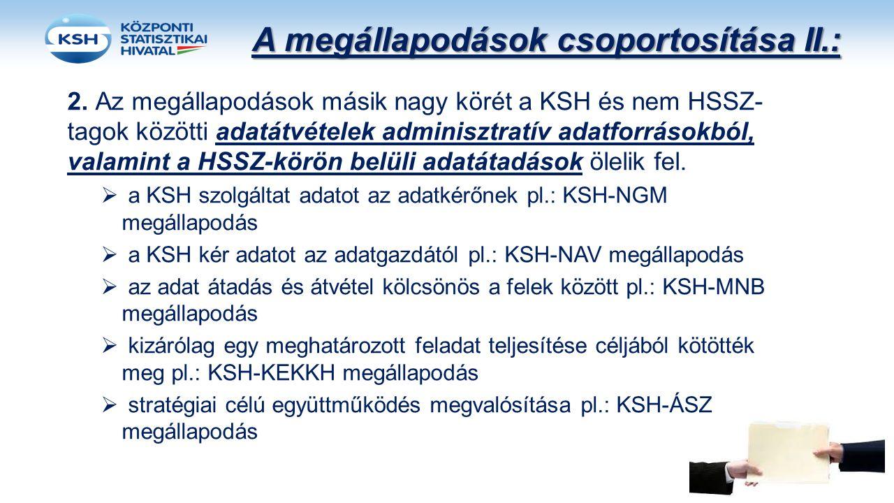 A megállapodások csoportosítása II.: 2. Az megállapodások másik nagy körét a KSH és nem HSSZ- tagok közötti adatátvételek adminisztratív adatforrásokb
