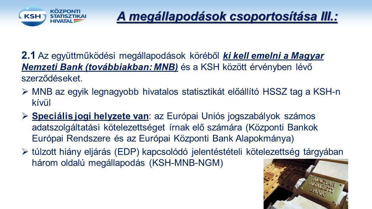 A megállapodások csoportosítása III.: 2.1 Az együttműködési megállapodások köréből ki kell emelni a Magyar Nemzeti Bank (továbbiakban: MNB) és a KSH k
