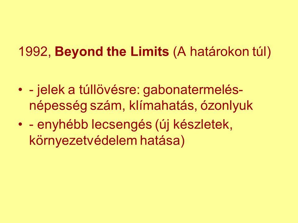 1992, Beyond the Limits (A határokon túl) - jelek a túllövésre: gabonatermelés- népesség szám, klímahatás, ózonlyuk - enyhébb lecsengés (új készletek, környezetvédelem hatása)