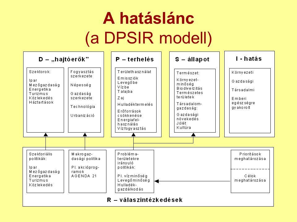 A hatáslánc (a DPSIR modell)