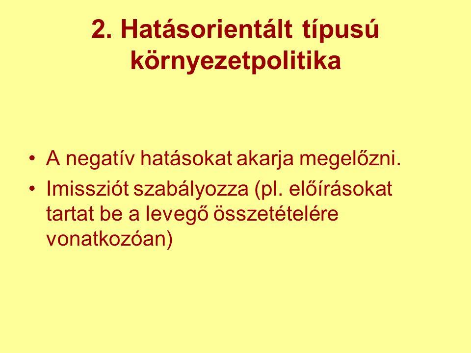 2. Hatásorientált típusú környezetpolitika A negatív hatásokat akarja megelőzni.