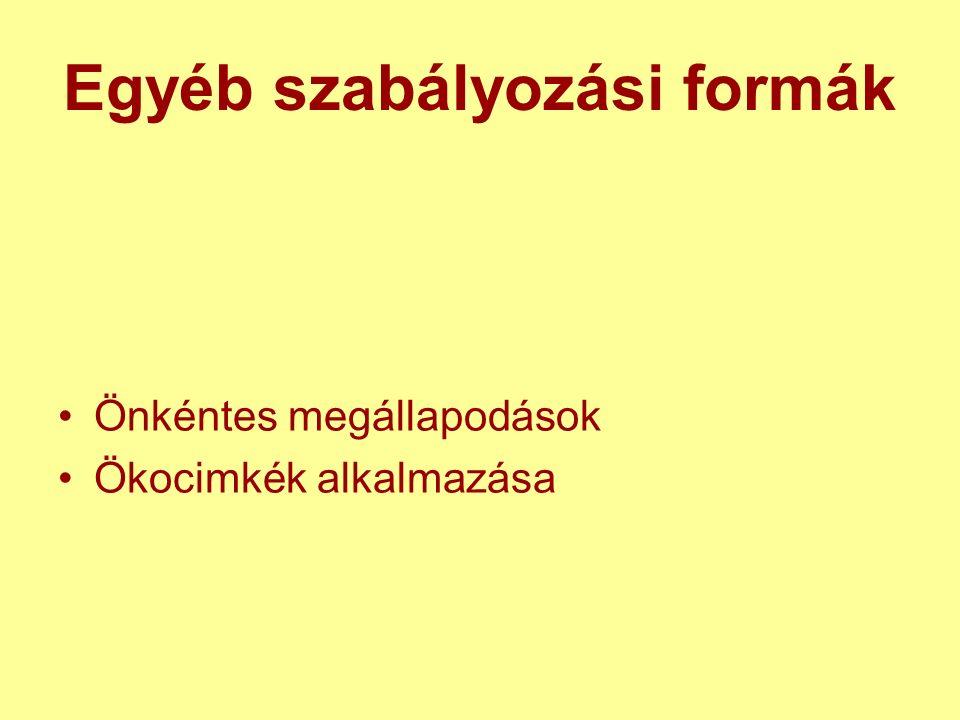 Egyéb szabályozási formák Önkéntes megállapodások Ökocimkék alkalmazása
