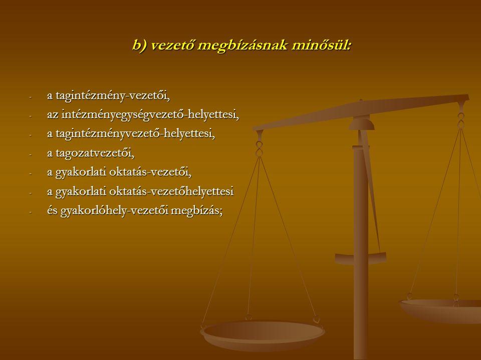 b) vezető megbízásnak minősül: - a tagintézmény-vezetői, - az intézményegységvezető-helyettesi, - a tagintézményvezető-helyettesi, - a tagozatvezetői, - a gyakorlati oktatás-vezetői, - a gyakorlati oktatás-vezetőhelyettesi - és gyakorlóhely-vezetői megbízás;