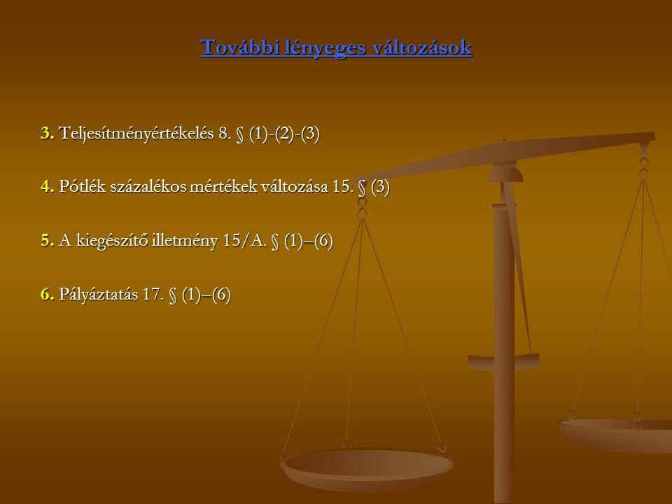 További lényeges változások 3. Teljesítményértékelés 8.