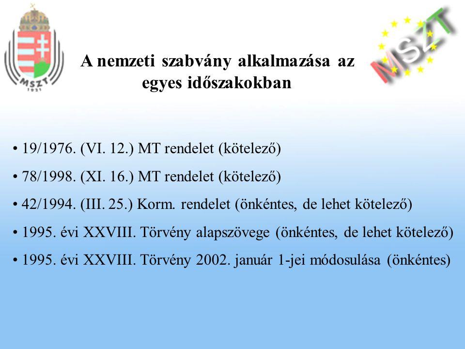 A nemzeti szabvány alkalmazása az egyes időszakokban 19/1976.