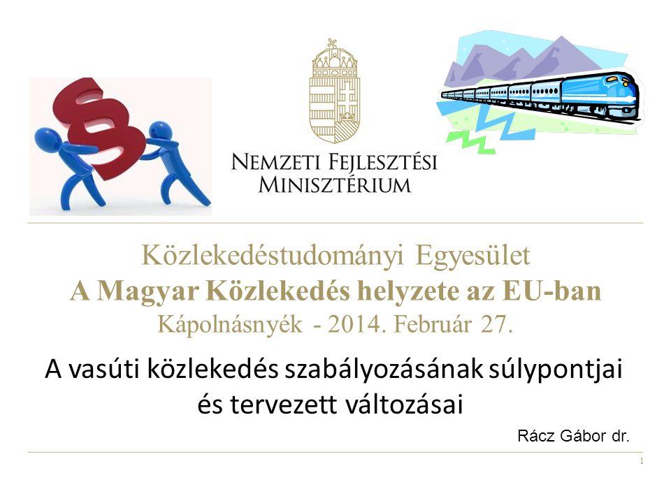 Közlekedéstudományi Egyesület A Magyar Közlekedés helyzete az EU-ban Kápolnásnyék - 2014.
