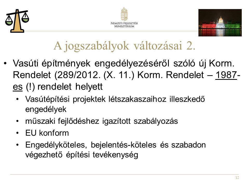 12 A jogszabályok változásai 2. Vasúti építmények engedélyezéséről szóló új Korm.