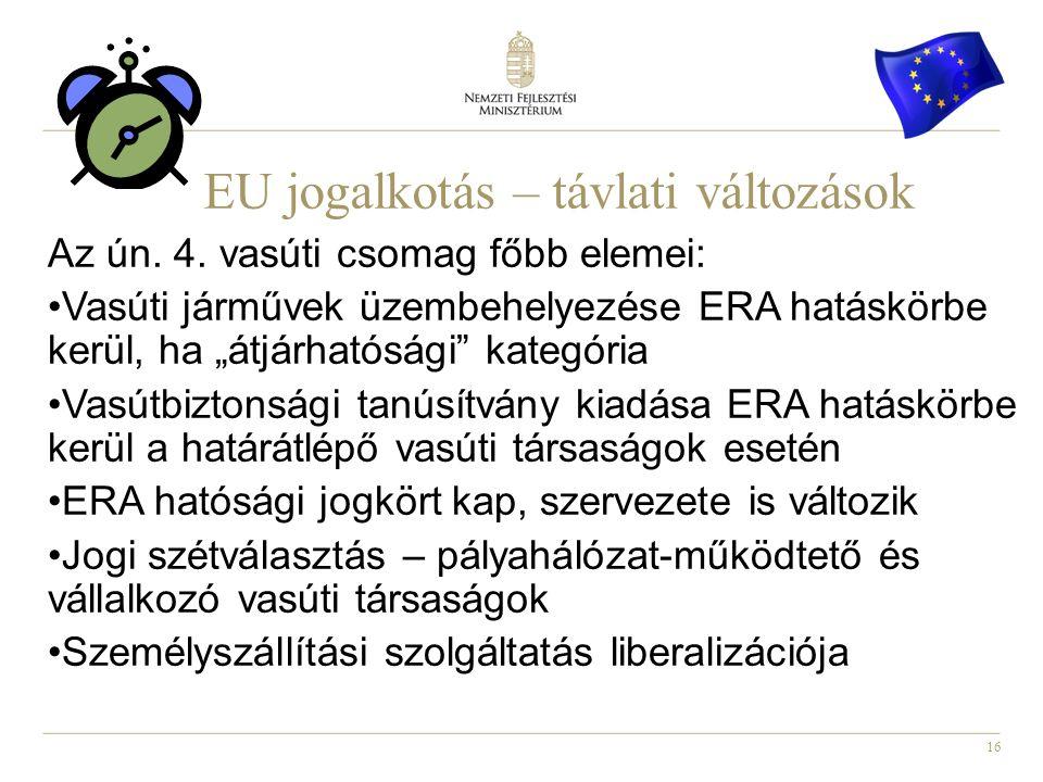 16 EU jogalkotás – távlati változások Az ún. 4.
