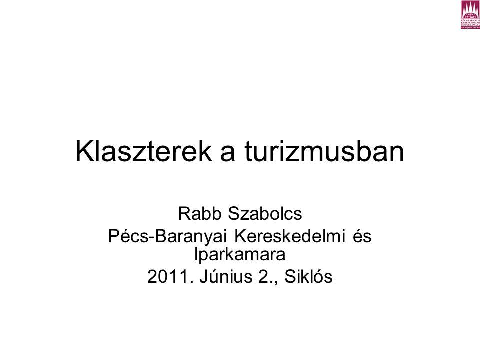 Klaszterek a turizmusban Rabb Szabolcs Pécs-Baranyai Kereskedelmi és Iparkamara 2011.