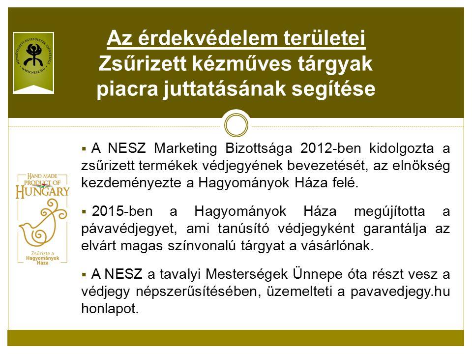  A NESZ Marketing Bizottsága 2012-ben kidolgozta a zsűrizett termékek védjegyének bevezetését, az elnökség kezdeményezte a Hagyományok Háza felé.
