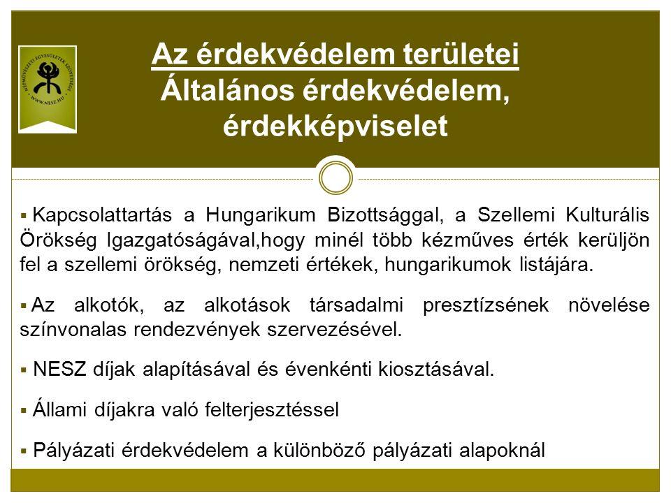  Kapcsolattartás a Hungarikum Bizottsággal, a Szellemi Kulturális Örökség Igazgatóságával,hogy minél több kézműves érték kerüljön fel a szellemi örökség, nemzeti értékek, hungarikumok listájára.