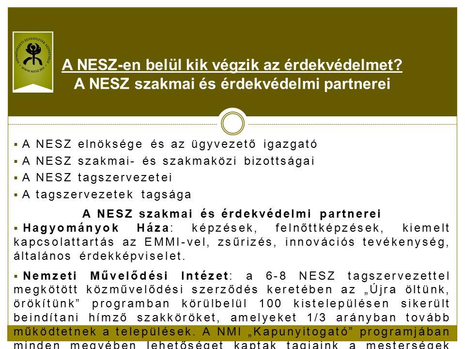  A NESZ elnöksége és az ügyvezető igazgató  A NESZ szakmai- és szakmaközi bizottságai  A NESZ tagszervezetei  A tagszervezetek tagsága A NESZ szakmai és érdekvédelmi partnerei  Hagyományok Háza: képzések, felnőttképzések, kiemelt kapcsolattartás az EMMI-vel, zsűrizés, innovációs tevékenység, általános érdekképviselet.