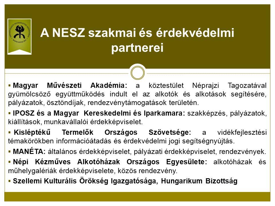  Magyar Művészeti Akadémia: a köztestület Néprajzi Tagozatával gyümölcsöző együttműködés indult el az alkotók és alkotások segítésére, pályázatok, ösztöndíjak, rendezvénytámogatások területén.