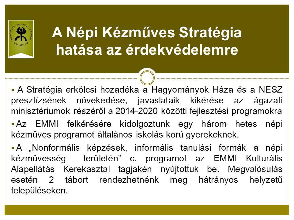  A Stratégia erkölcsi hozadéka a Hagyományok Háza és a NESZ presztízsének növekedése, javaslataik kikérése az ágazati minisztériumok részéről a 2014-2020 közötti fejlesztési programokra  Az EMMI felkérésére kidolgoztunk egy három hetes népi kézműves programot általános iskolás korú gyerekeknek.