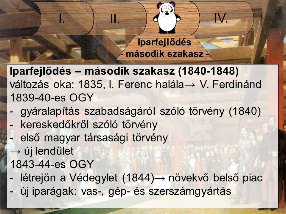 III. II. I. IV. Iparfejlődés - második szakasz - Iparfejlődés – második szakasz (1840-1848) változás oka: 1835, I. Ferenc halála→ V. Ferdinánd 1839-40