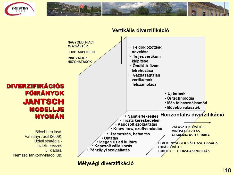 118 Bővebben lásd: Varsányi Judit (2009): Üzleti stratégia - üzleti tervezés 3.