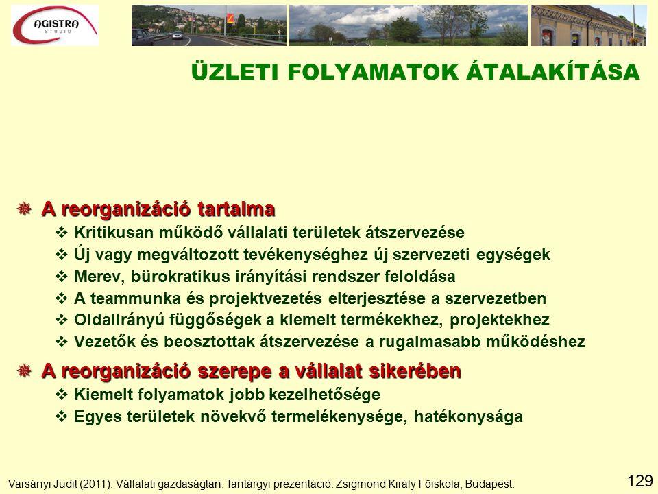 129  A reorganizáció tartalma vKritikusan működő vállalati területek átszervezése vÚj vagy megváltozott tevékenységhez új szervezeti egységek vMerev, bürokratikus irányítási rendszer feloldása vA teammunka és projektvezetés elterjesztése a szervezetben vOldalirányú függőségek a kiemelt termékekhez, projektekhez vVezetők és beosztottak átszervezése a rugalmasabb működéshez  A reorganizáció szerepe a vállalat sikerében vKiemelt folyamatok jobb kezelhetősége vEgyes területek növekvő termelékenysége, hatékonysága ÜZLETI FOLYAMATOK ÁTALAKÍTÁSA Varsányi Judit (2011): Vállalati gazdaságtan.