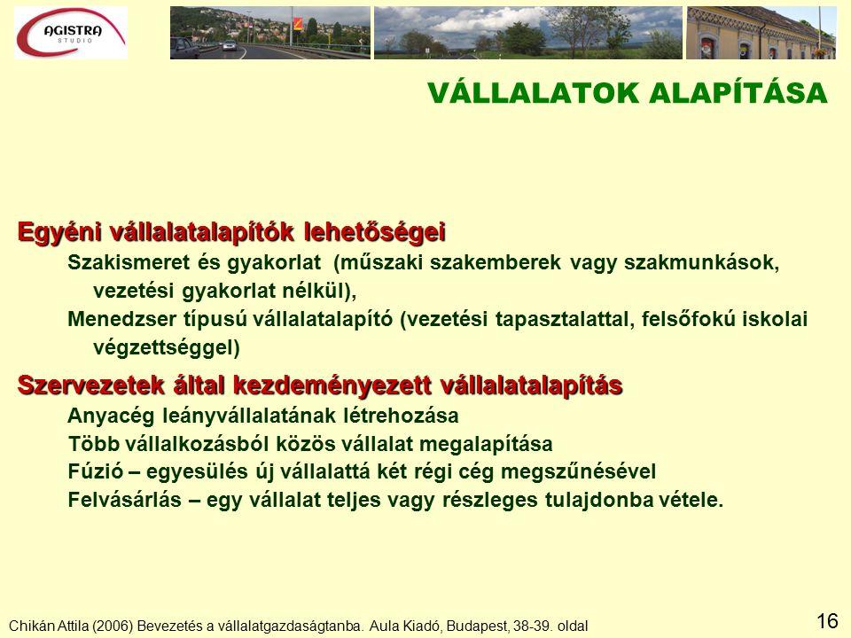 16 Chikán Attila (2006) Bevezetés a vállalatgazdaságtanba.