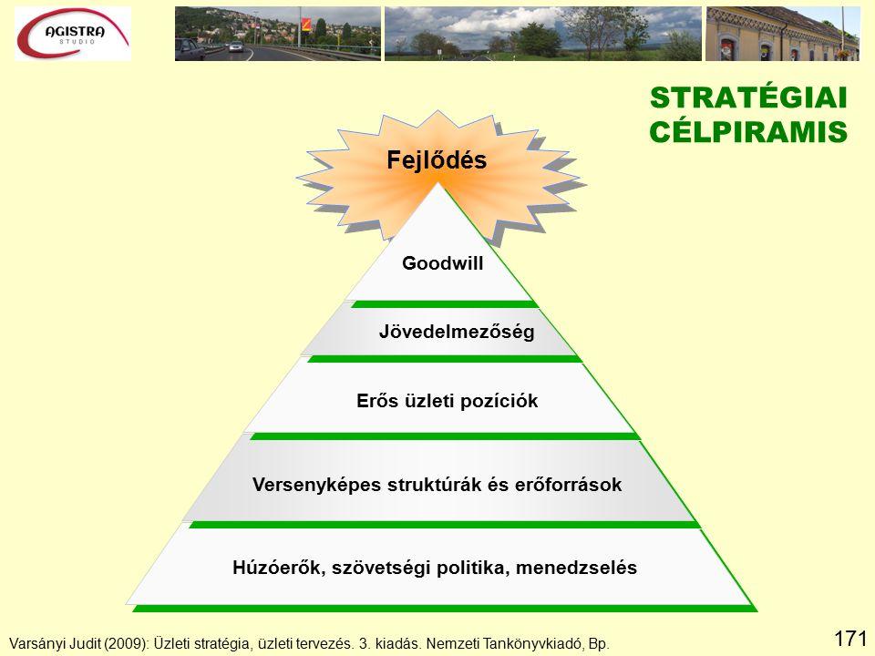 171 Fejlődés Goodwill Jövedelmezőség Erős üzleti pozíciók Versenyképes struktúrák és erőforrások Húzóerők, szövetségi politika, menedzselés STRATÉGIAI CÉLPIRAMIS Varsányi Judit (2009): Üzleti stratégia, üzleti tervezés.