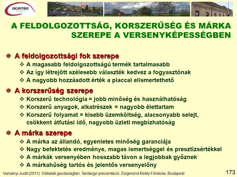173 A FELDOLGOZOTTSÁG, KORSZERŰSÉG ÉS MÁRKA SZEREPE A VERSENYKÉPESSÉGBEN Varsányi Judit (2011): Vállalati gazdaságtan.