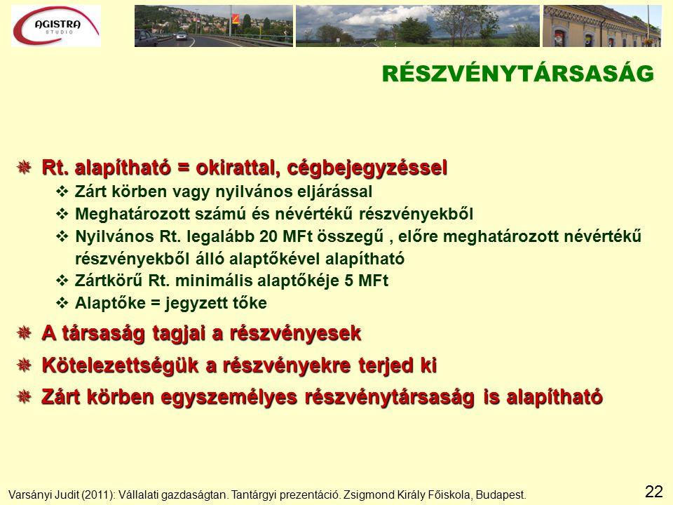 22 RÉSZVÉNYTÁRSASÁG  Rt.