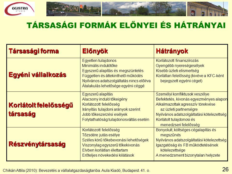 26 TÁRSASÁGI FORMÁK ELŐNYEI ÉS HÁTRÁNYAI Chikán Attila (2010): Bevezetés a vállalatgazdaságtanba.