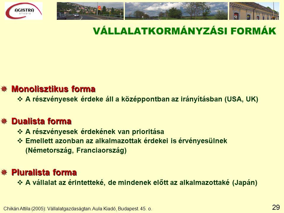 29 VÁLLALATKORMÁNYZÁSI FORMÁK Chikán Attila (2005): Vállalatgazdaságtan.