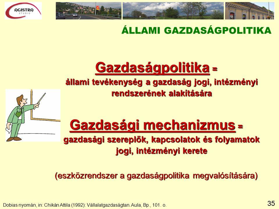 35 ÁLLAMI GAZDASÁGPOLITIKA Gazdaságpolitika = állami tevékenység a gazdaság jogi, intézményi rendszerének alakítására Gazdasági mechanizmus = gazdasági szereplők, kapcsolatok és folyamatok jogi, intézményi kerete (eszközrendszer a gazdaságpolitika megvalósítására) Dobias nyomán, in: Chikán Attila (1992): Vállalatgazdaságtan.