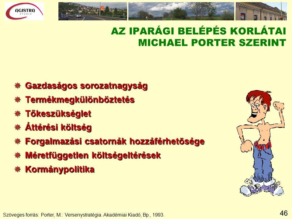 46 Szöveges forrás: Porter, M.: Versenystratégia. Akadémiai Kiadó, Bp., 1993.