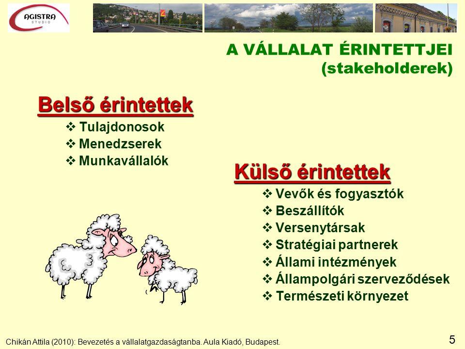 5 A VÁLLALAT ÉRINTETTJEI (stakeholderek) Belső érintettek vTulajdonosok vMenedzserek vMunkavállalók Külső érintettek vVevők és fogyasztók vBeszállítók vVersenytársak vStratégiai partnerek vÁllami intézmények vÁllampolgári szerveződések vTermészeti környezet Chikán Attila (2010): Bevezetés a vállalatgazdaságtanba.